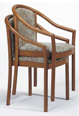 176, Chair with armrests, in beech, stackable, for restaurant