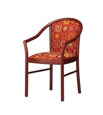 406, Elegant chair with arms, upholstered, in beech, for bars