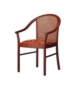 408 C, Chair with padded armrests, classic contract stile