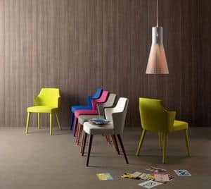 Jolly, Modern upholstered armchair, in eco-leather and wood