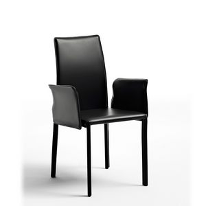 Agata with armrests, Modern chair padded with rubber, leather covering