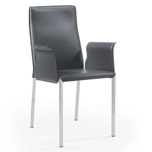 Ara br chromed, Leather chair with chrome legs