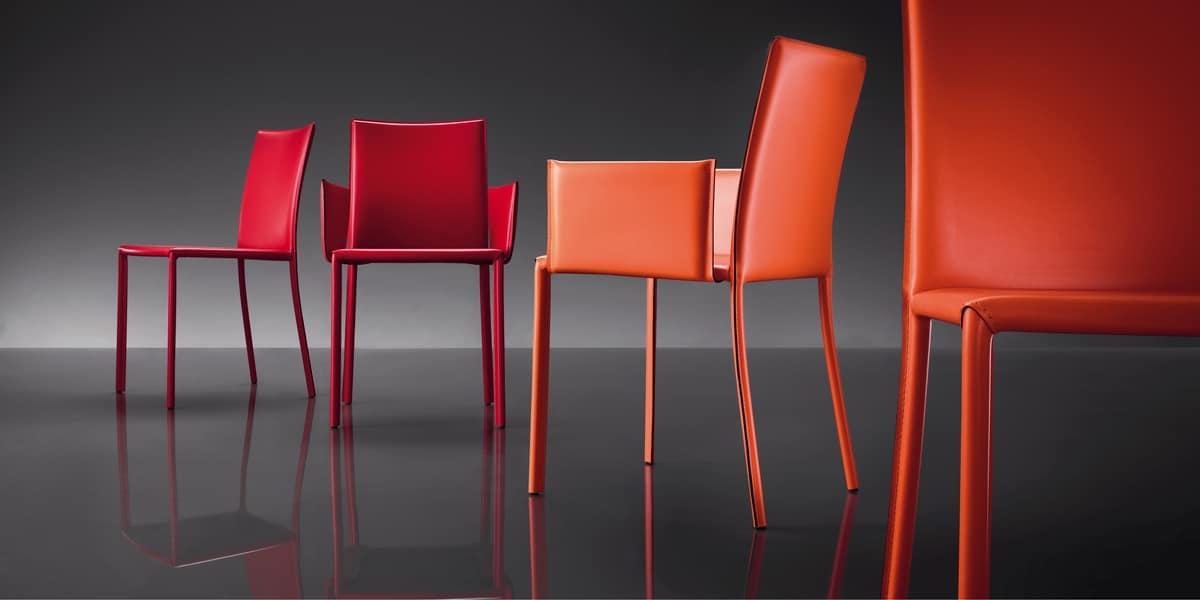 ART. 236/B SUNRISE, Leather armchair, metal frame, for restaurants