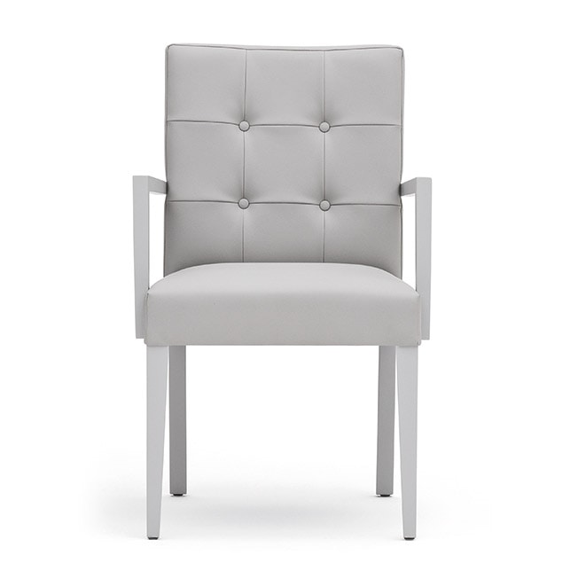 Zenith 01629, Armchair with arms with wooden frame, upholstered seat and back, capitonn� back, for dining rooms
