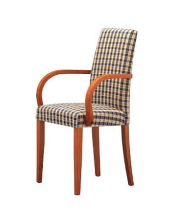 298, Chair with armrests, padded, for kitchens and restaurants