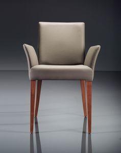 ART. 222 FLORANCE, Modern armchair in beechwood, padded armrests