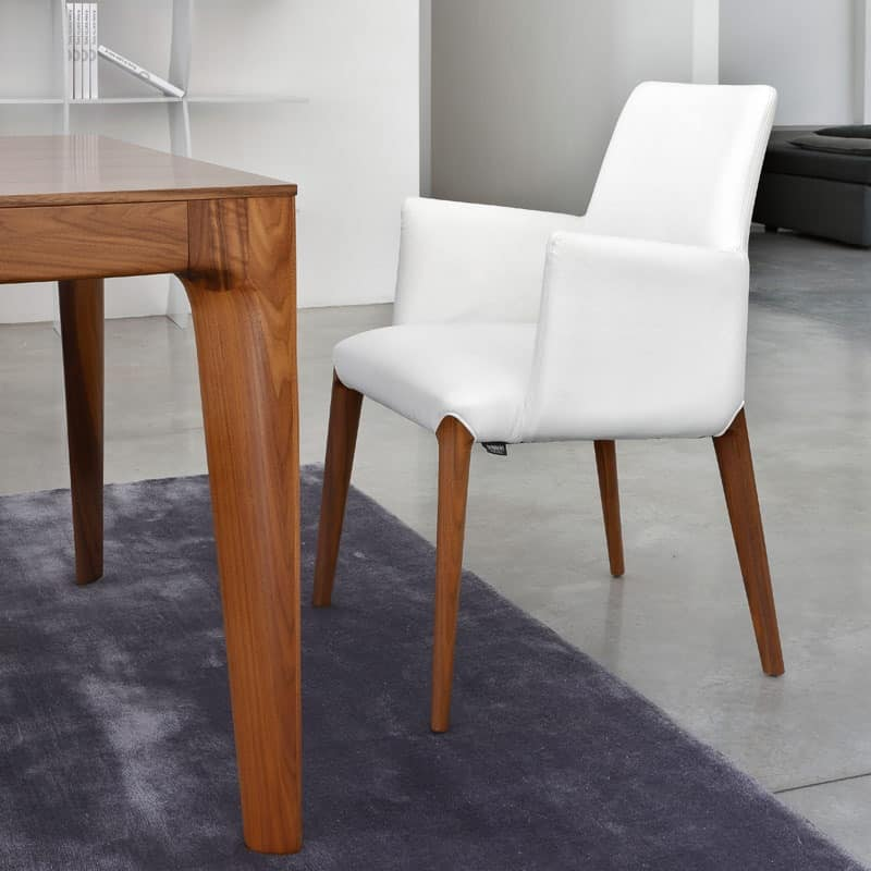 Modern small armchair padded wooden legs idfdesign for Small contemporary armchairs