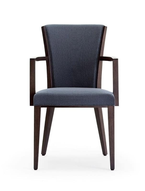 C42, Armchair with arms in wood, upholstered seat and back, covered with fabric, for contract and domestic use