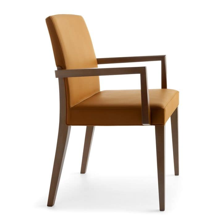 Charme 02521, Wooden chair with armrests, Padded chair for hotel