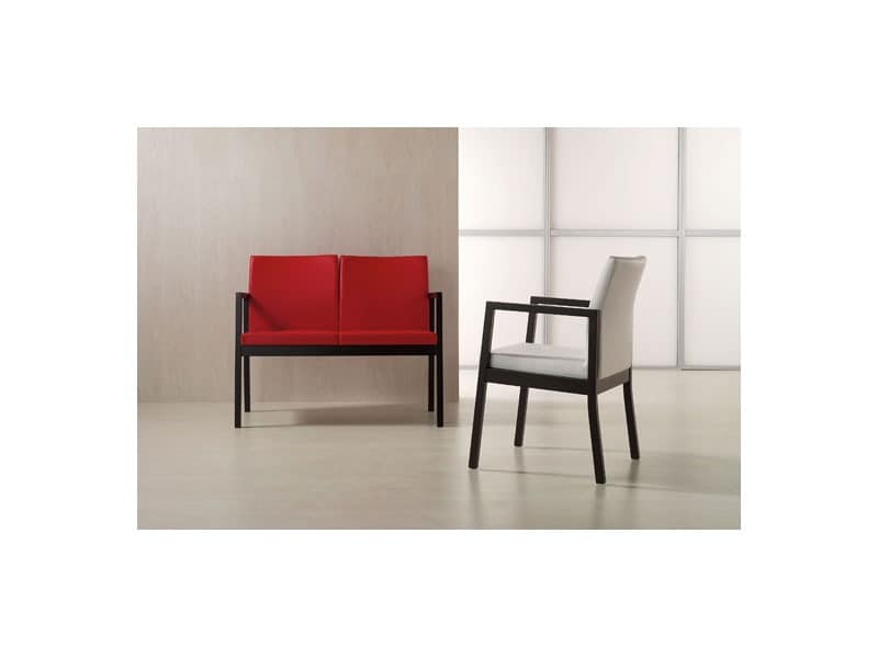 DOMINA/P, Padded chair with armrests, for waiting rooms and hotels