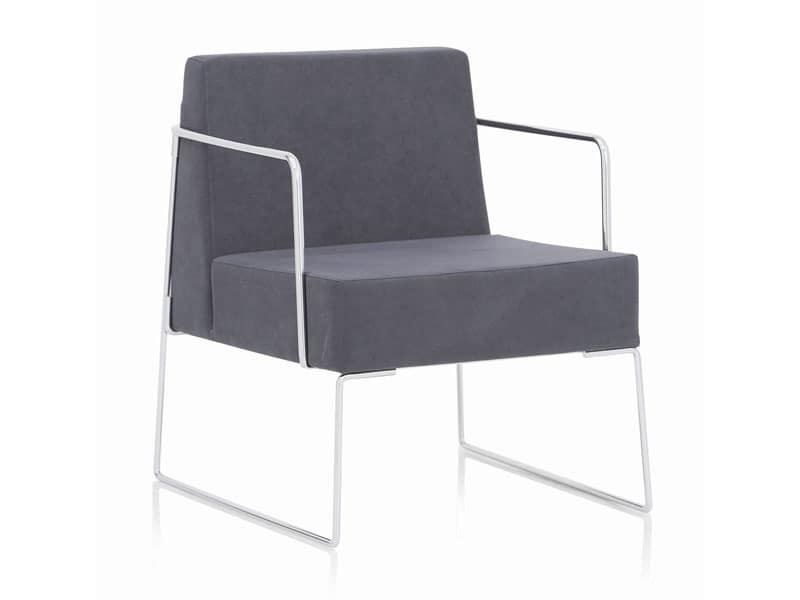 Kalida 604C , Armchair with sled base, modern style, for bar and reception