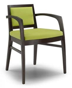 Ketty I, Modern chair with armrests, for restaurants and hotels