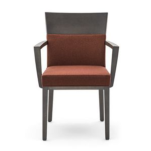 Logica 00933, Armchair in solid wood, upholstered seat and back, for contract use