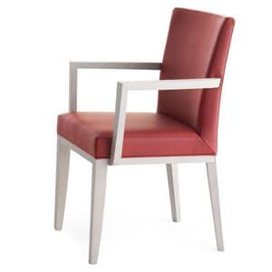 Logica 00935, Solid wood armchair with arms, upholstered seat and back, for contract and domestic use