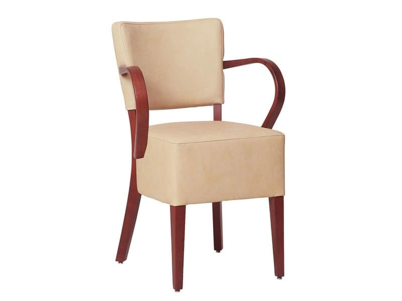 Marsiglia/P/1, Armchair for restaurants with wooden armrests