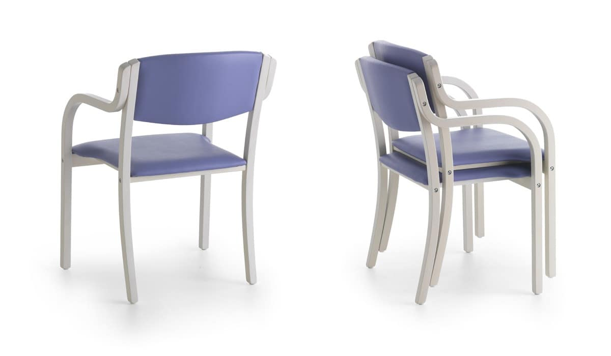 Marta 03 P, Chair with padded armrests with vivid colors for kitchens