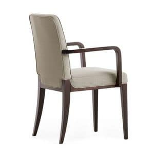 Opera 02221, Armchair in solid wood, upholstered seat and back, fabric covering, modern style