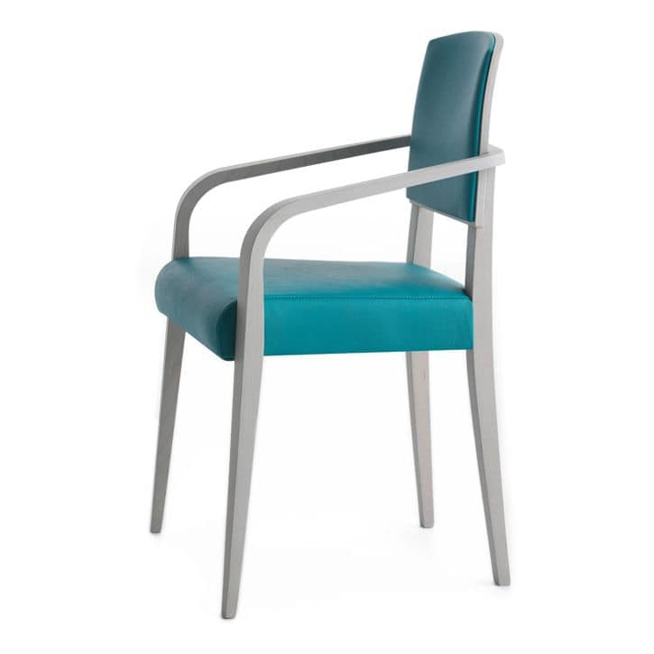 Piper 00822, Chair in solid wood, padded seat and back, fabric covering, modern style