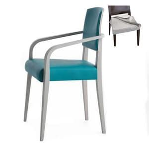 Piper 00824, Armchair with arms in solid wood, upholstered seat and back, removable fabric covering, modern style
