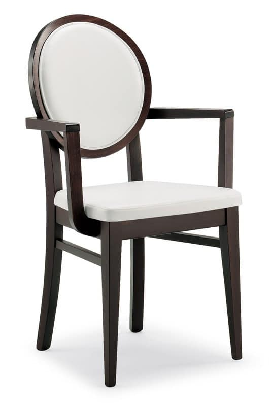 PL 49 HP, Wooden chair with armrests, round back, for Restaurant