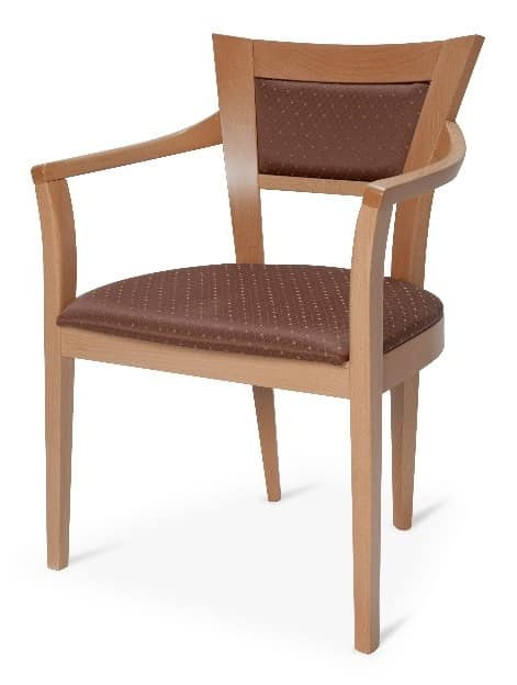 Roby, Beech chair with armrests, for contract use