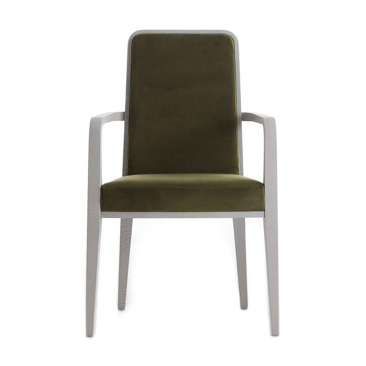 Round 02321, Solid wood armchair with arms, upholstered seat and back, fabric covering, for contract and domestic use