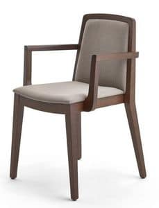 Sidney chair with arms, Chair with armrests, in beech, for contract use