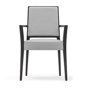 Timberly 01724, Stackable armchair with arms, solid wood frame, upholstered seat and back, removable fabric seat, for dining rooms