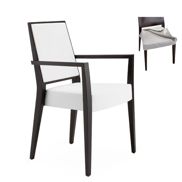 Timberly 01725, Armchair with arms with solid wood frame, upholstered seat and back, fabric removable seat, for contract and domestic use