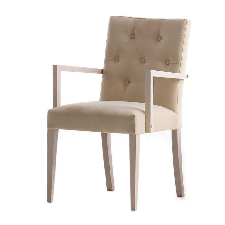 Zenith 01628, Armchair with arms with wooden frame, upholstered seat and back, capitonn� back, for contract and domestic use