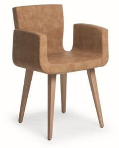 Zoe W, Wooden chair with upholstered body and fabric covering