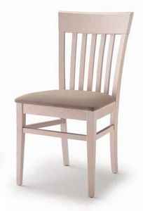 Cinzia, Dining chair in wood, with  padded seat