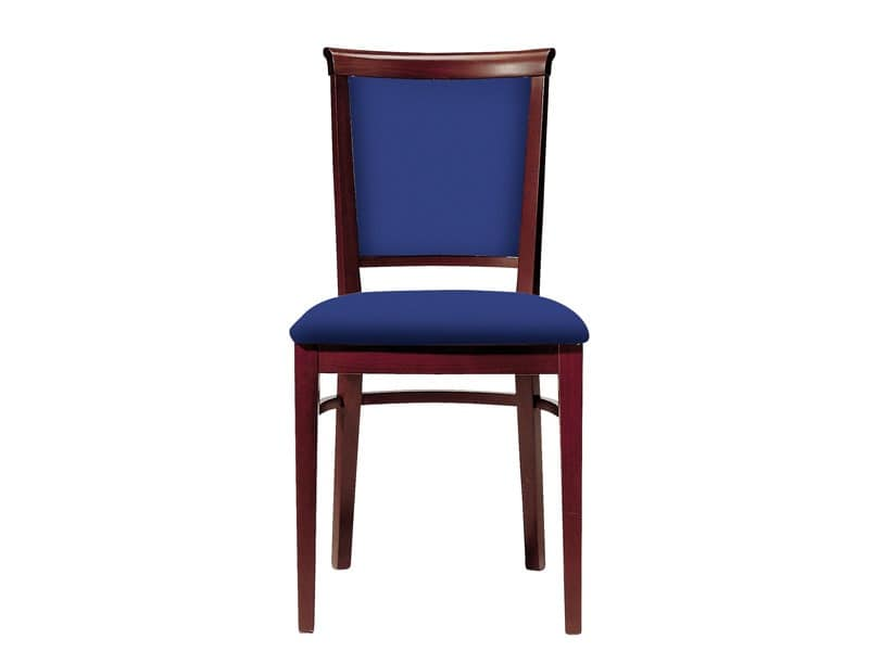 063 3/4, Wooden chair for dining rooms, upholstered seat and backrest