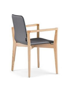 1123, Chair with armrests made of wood, padded