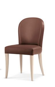 119, Padded chair in wood, with rounded backrest