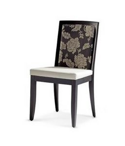 304, Padded wooden chair with back with floral decorations