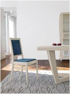 Art. 988, Chair in ash wood, upholstered seat and back, in classic contemporary style