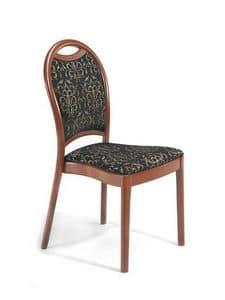 Desiree S, Padded wooden chair with curved backrest