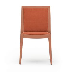 Flame 02111, Chair in solid wood, upholstered seat and back, fabric covering, modern style