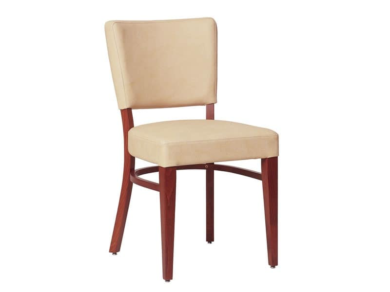 Marsiglia/S, Chair in wood for living room, with upholstered seat and backrest
