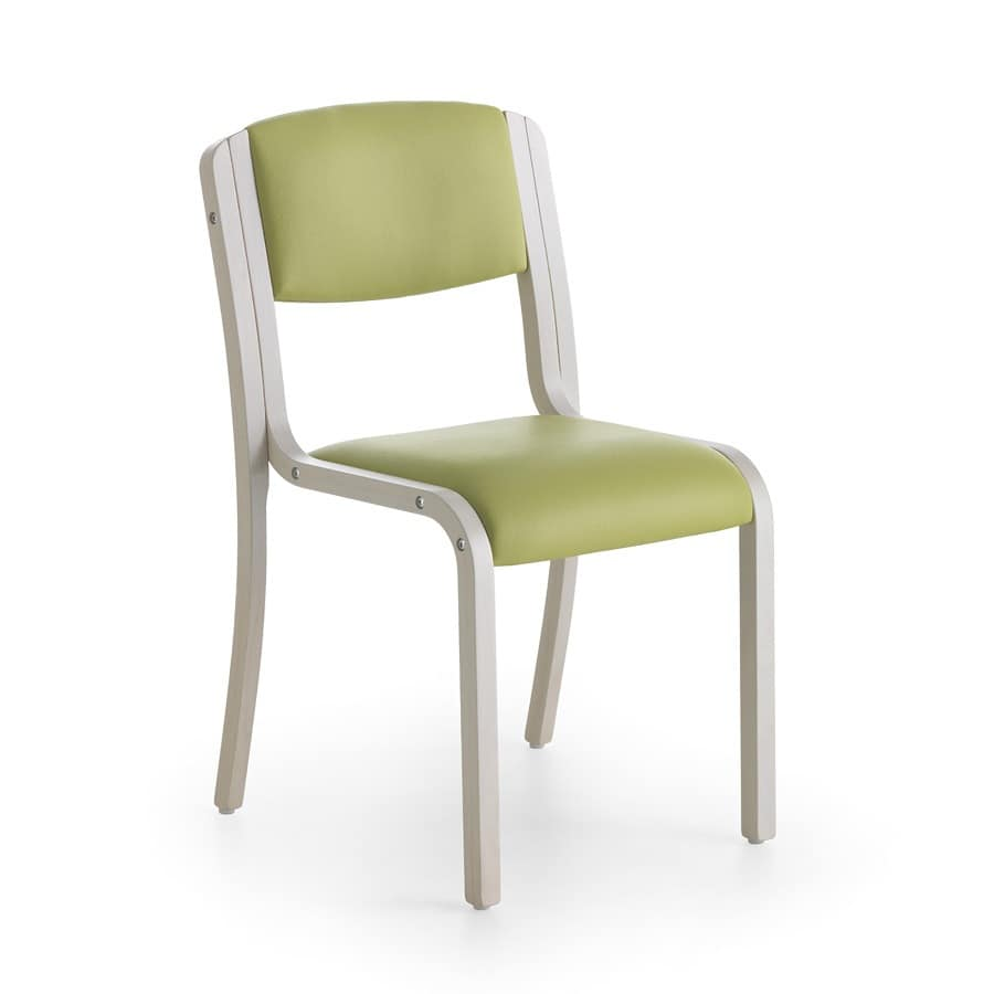 Marta 03 S, Wooden chair covered with soft fabrics, for restaurant