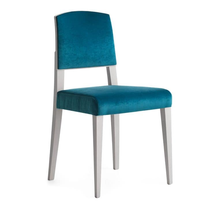 Piper 00812, Chair in solid wood, padded seat and back, fabric covering, modern style