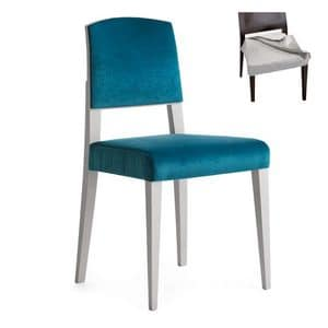 Piper 00814, Chair in solid wood, padded seat and back, fabric covering, modern style