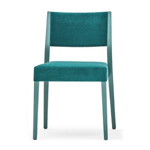 Sintesi 01514, Chair in solid wood, upholstered back and seat, modern style
