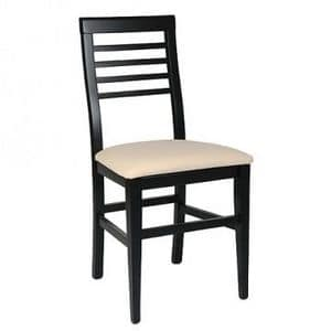 314 BIS, Beech chair, upholstered seat, Horizontal slats back