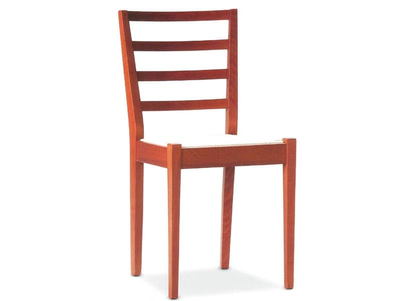 AMBRA 4, Wooden chair with backrest with horizontal slats