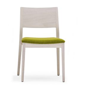 Sintesi 01511, Chair in solid wood, upholstered seat, modern style