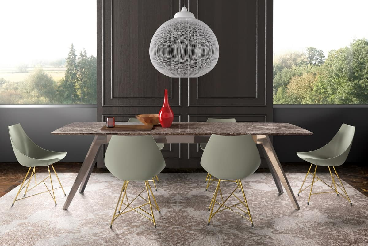 dining table with top made of marble wood or glass  idfdesign - delta dining table with top made of marble wood or glass