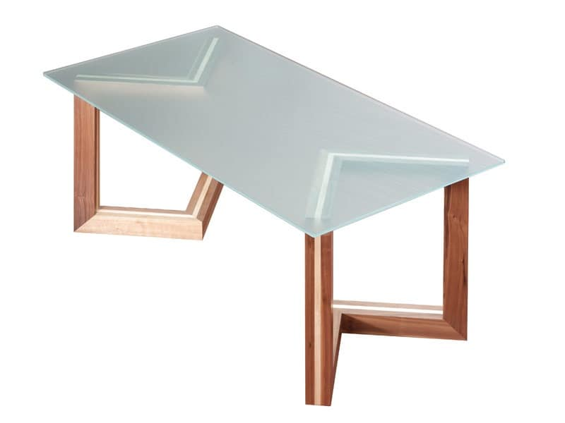 Wooden Table With Glass Top For Dining Rooms IDFdesign