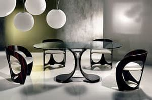 TA42 TA43 Mistral, Dining table with glass top, chrome metal base